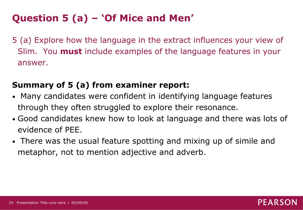 Question 5 (a) – 'Of Mice and Men'