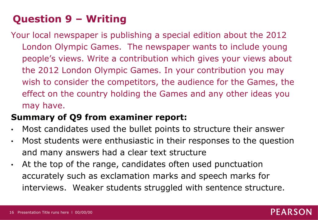 Question 9 – Writing