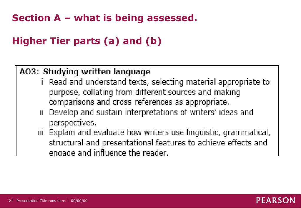 Section A – what is being assessed.
