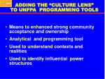 adding the culture lens to unfpa programming tools