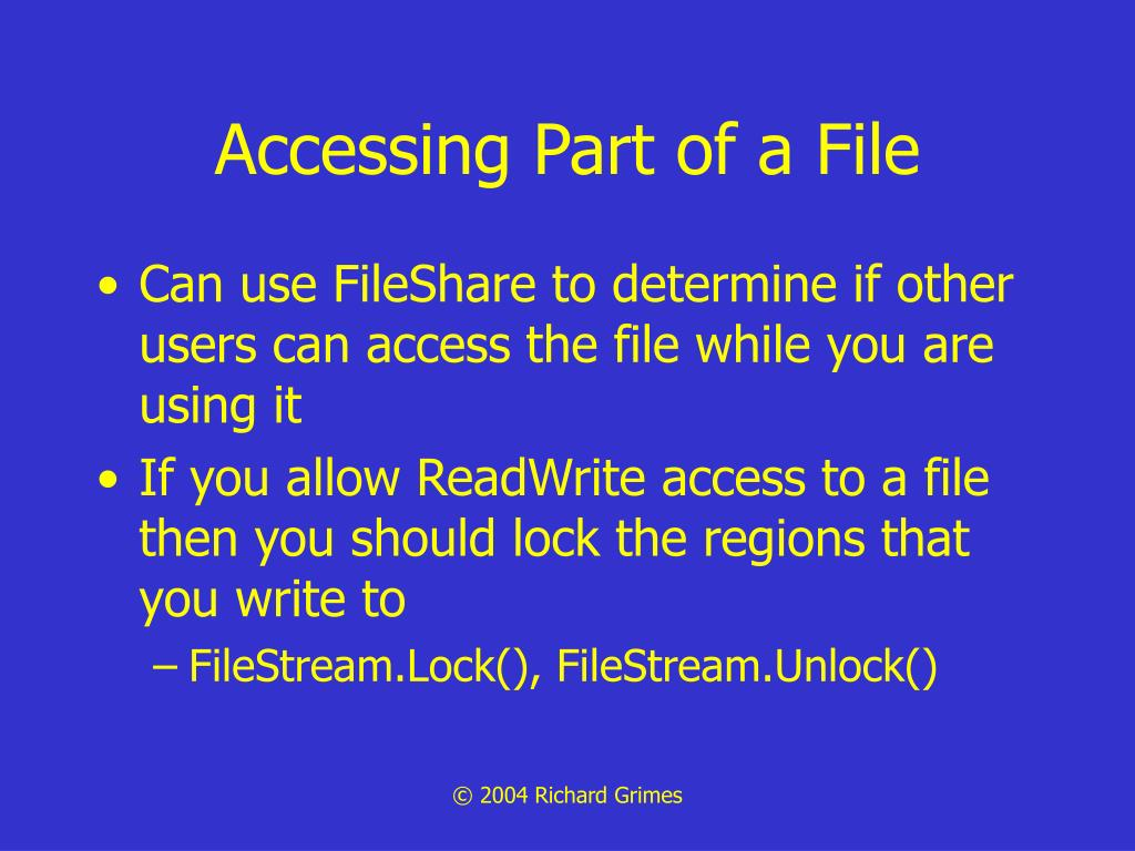 Accessing Part of a File
