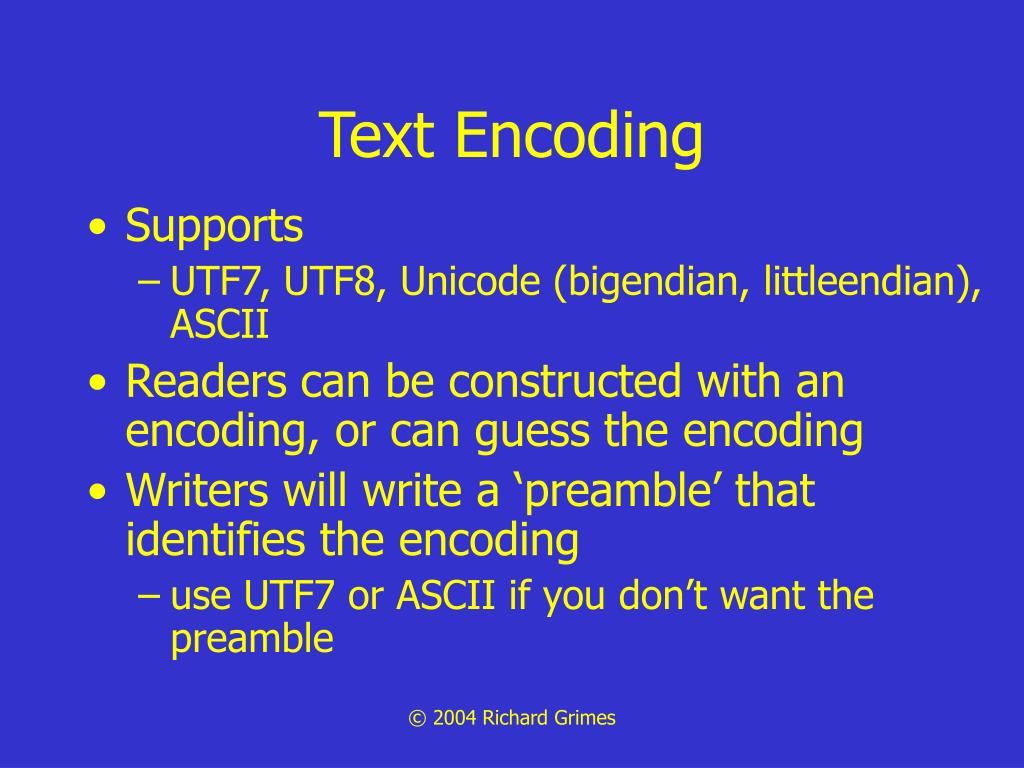Text Encoding