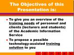 the objectives of this presentation is