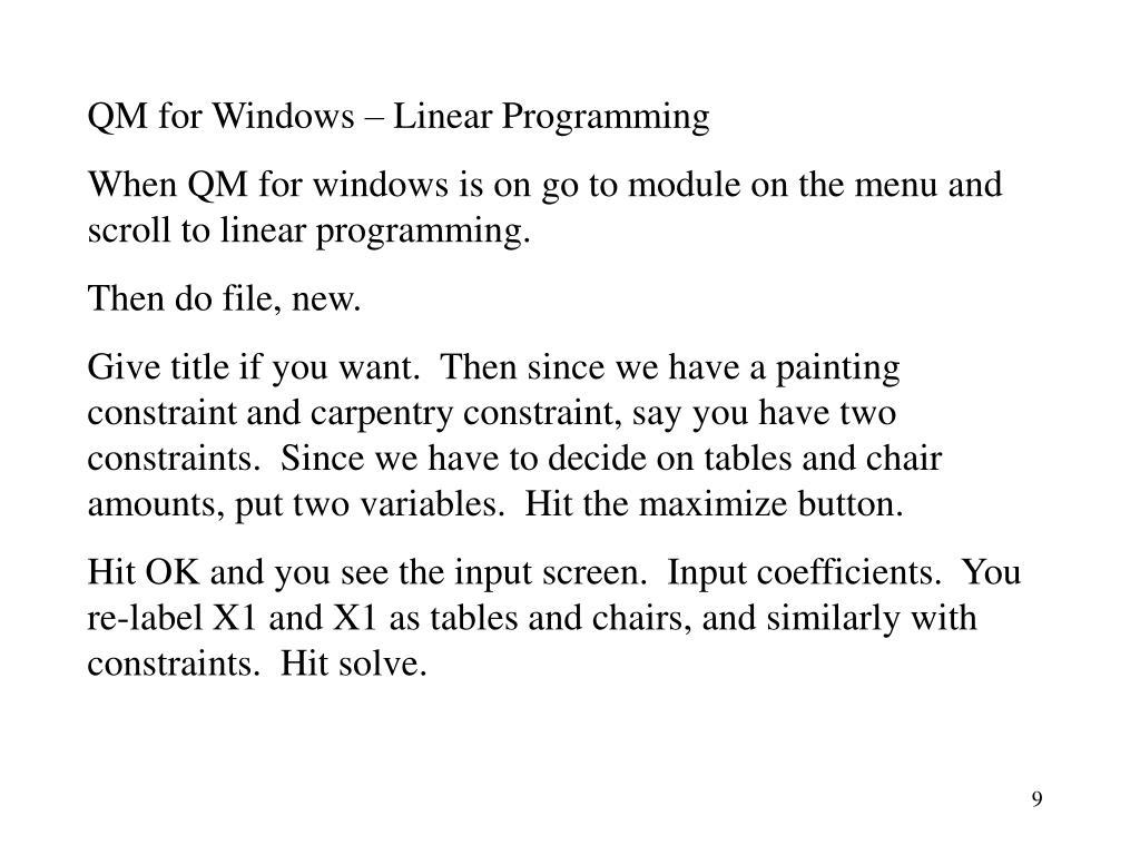 QM for Windows – Linear Programming