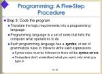 programming a five step procedure19