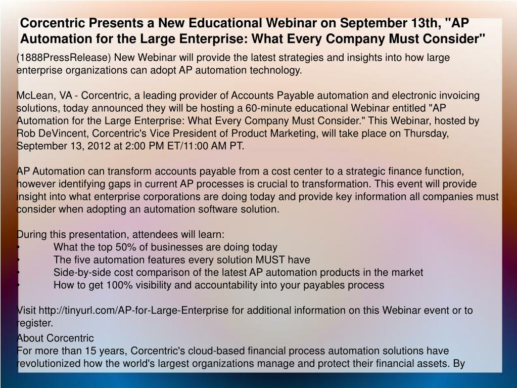"""Corcentric Presents a New Educational Webinar on September 13th, """"AP Automation for the Large Enterprise: What Every Company Must Consider"""""""