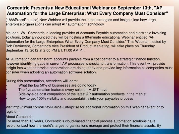 """Corcentric Presents a New Educational Webinar on September 13th, """"AP Automation for the Large Enterp..."""