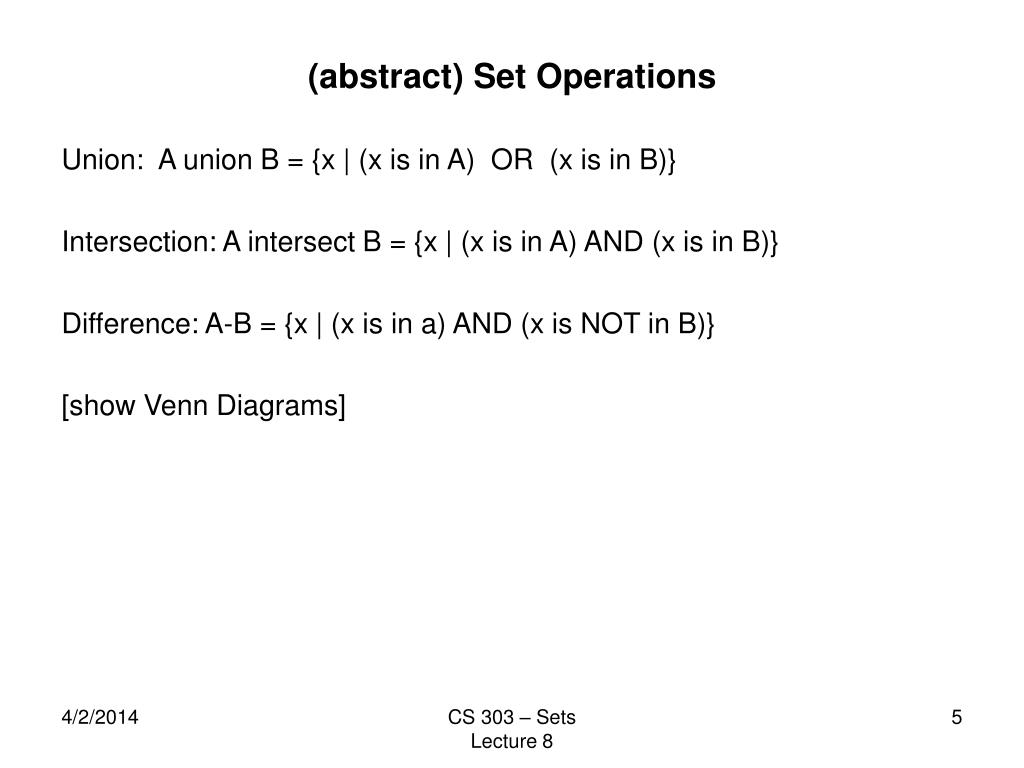 (abstract) Set Operations