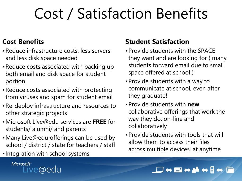 Cost / Satisfaction Benefits