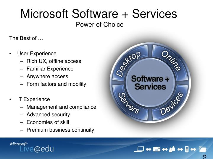 Microsoft software services power of choice