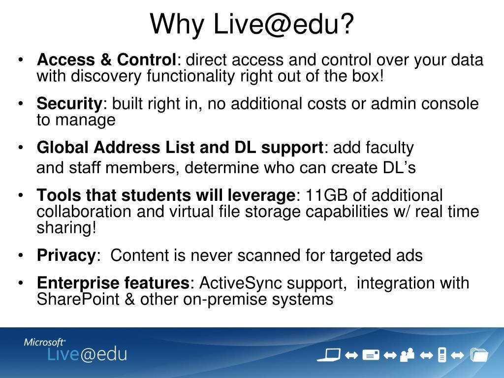Why Live@edu?