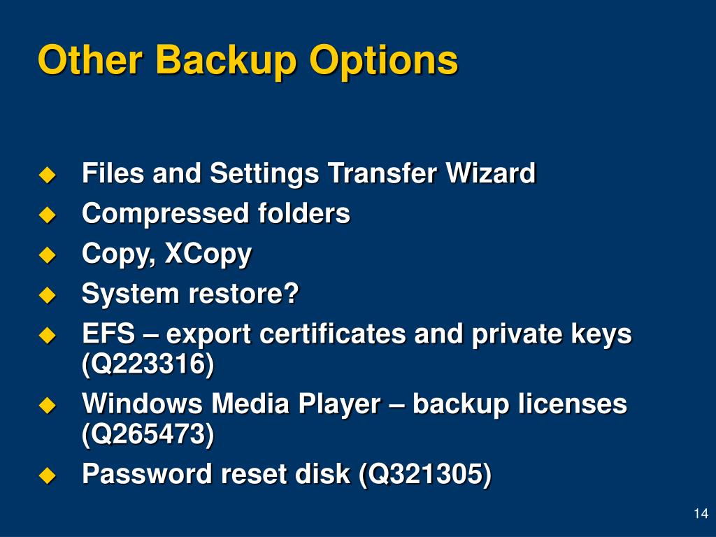 Other Backup Options