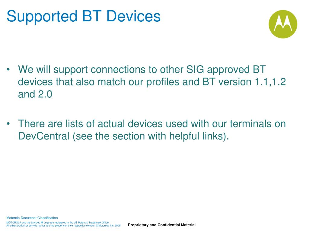 Supported BT Devices