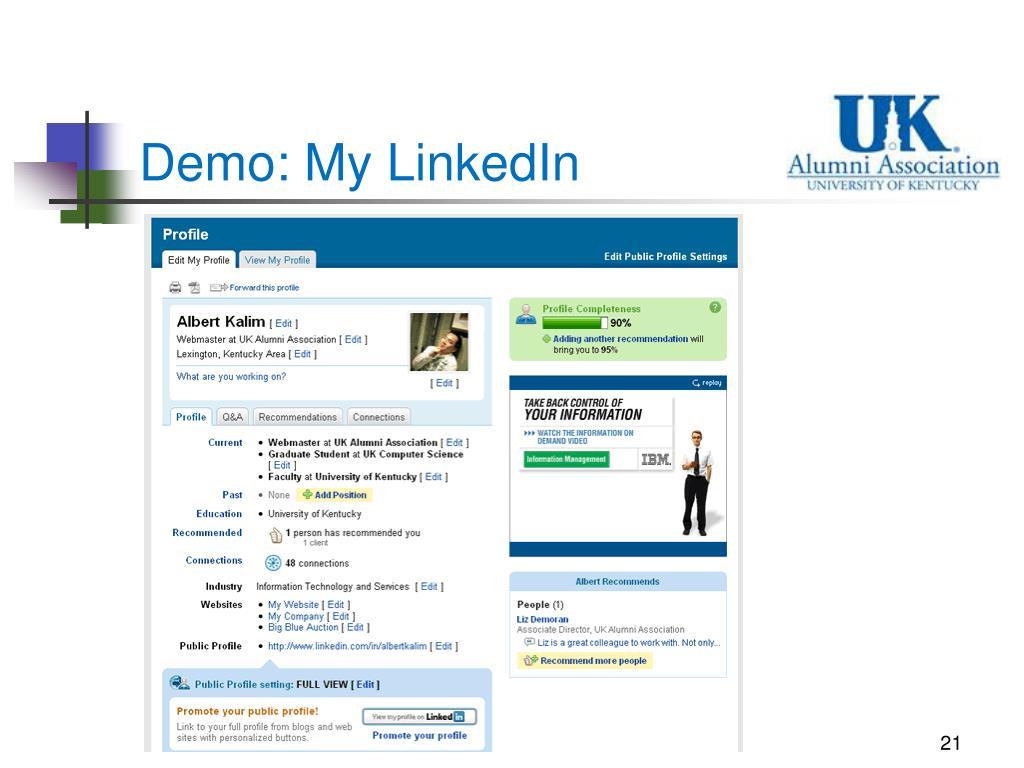 Demo: My LinkedIn
