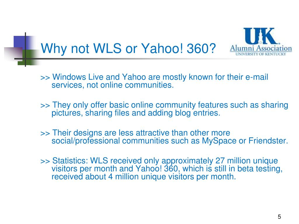 Why not WLS or Yahoo! 360?