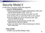 security model ii