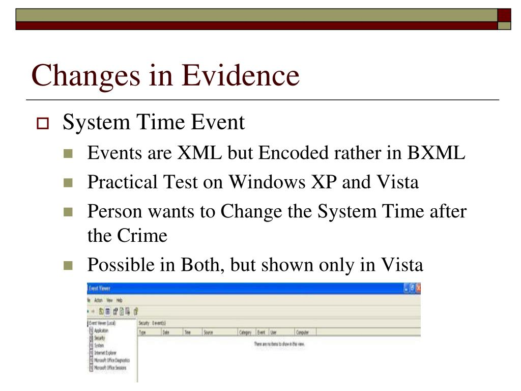 Changes in Evidence