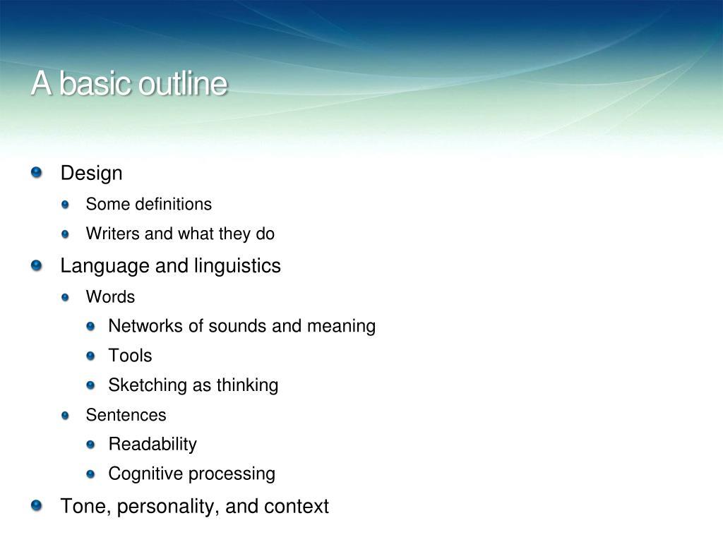 A basic outline
