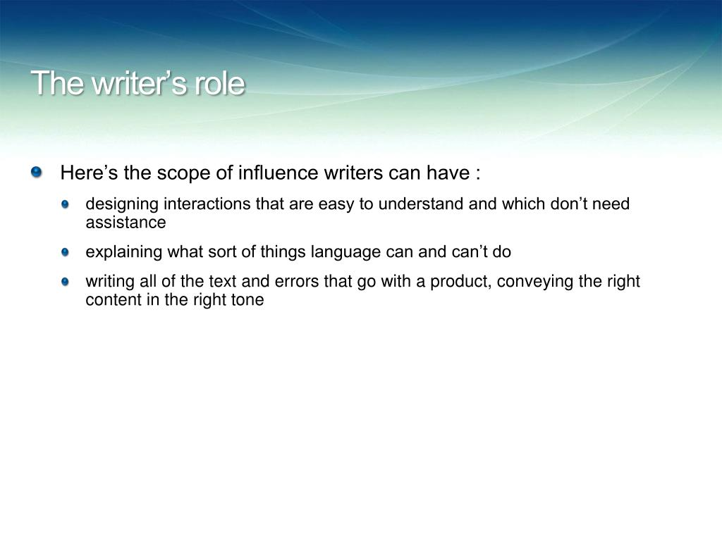 The writer's role