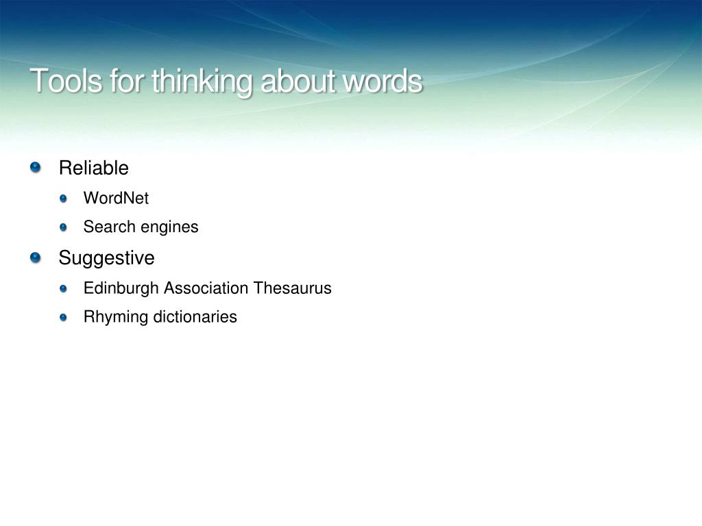 Tools for thinking about words