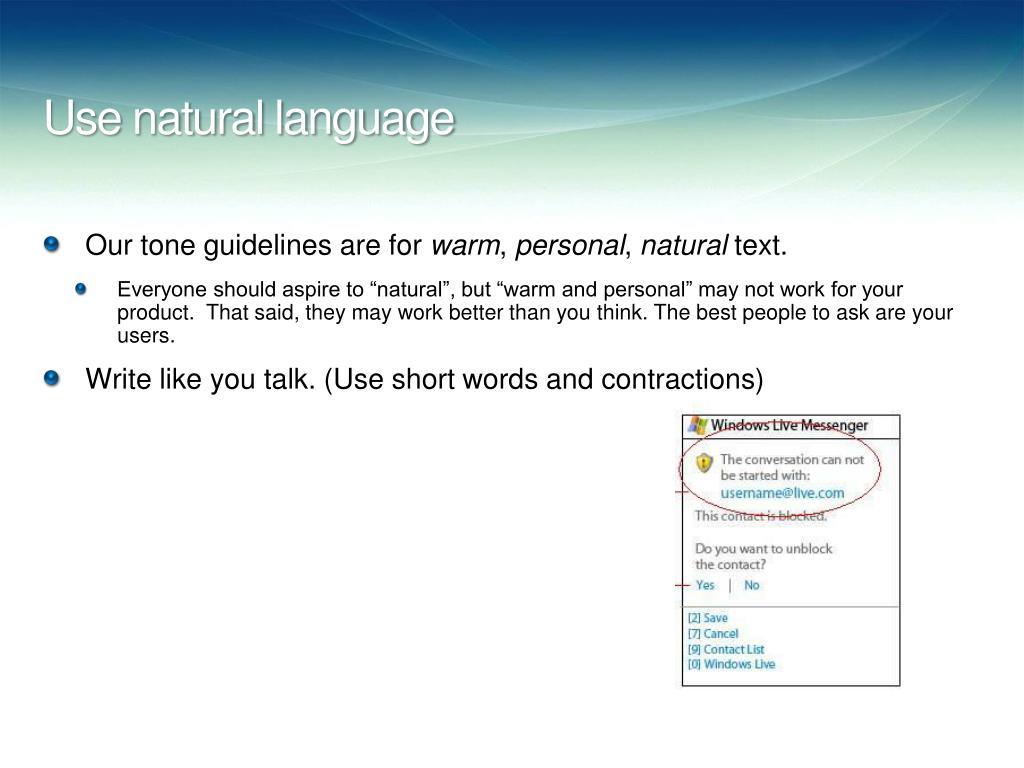 Use natural language