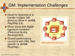 gm implementation challenges