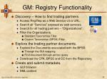 gm registry functionality