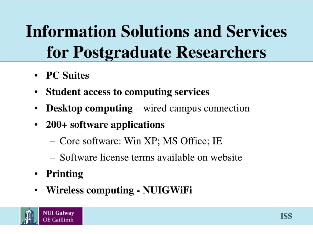 information solutions and services for postgraduate researchers l.