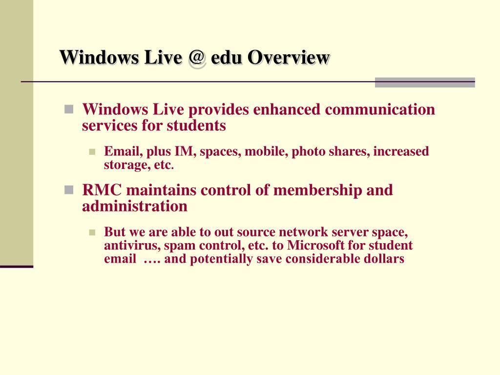 Windows Live @ edu Overview