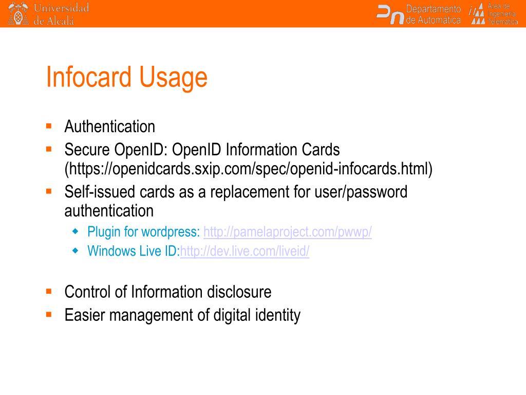 Infocard Usage