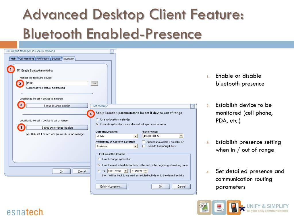 Enable or disable bluetooth presence