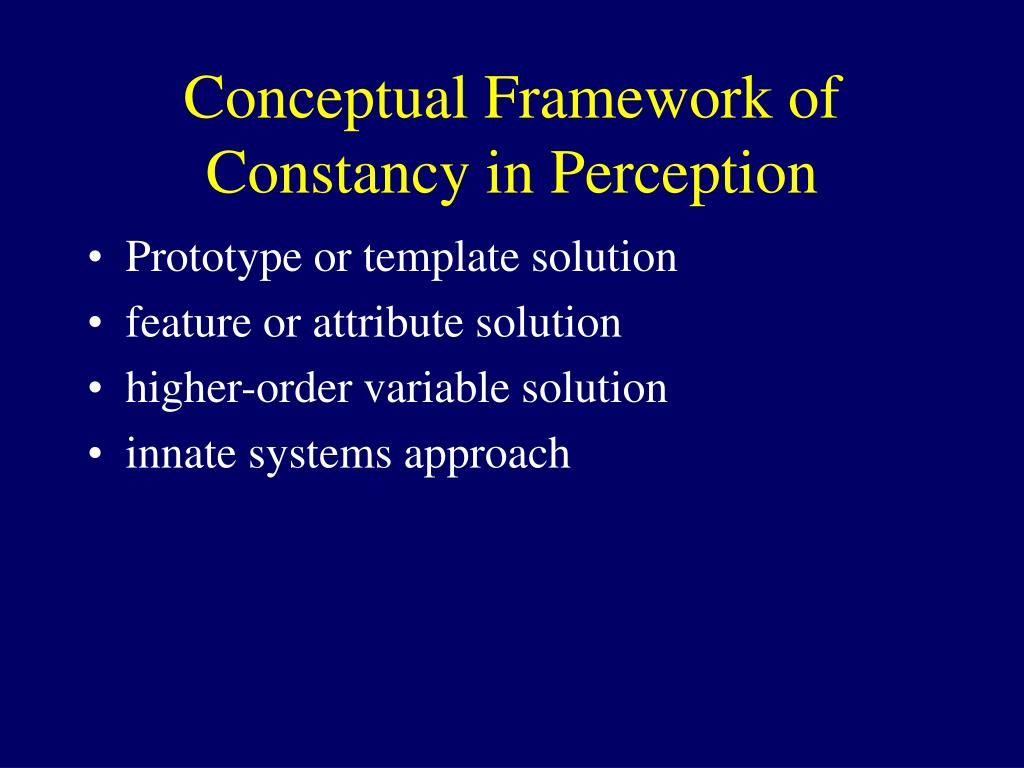 Conceptual Framework of Constancy in Perception