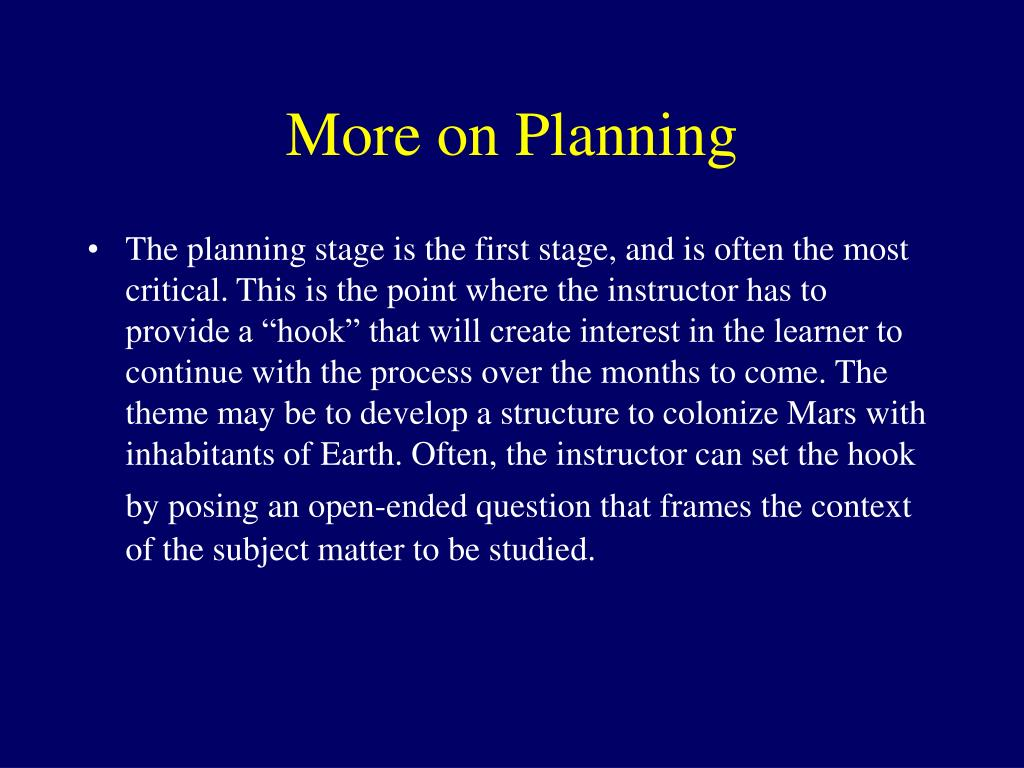 More on Planning