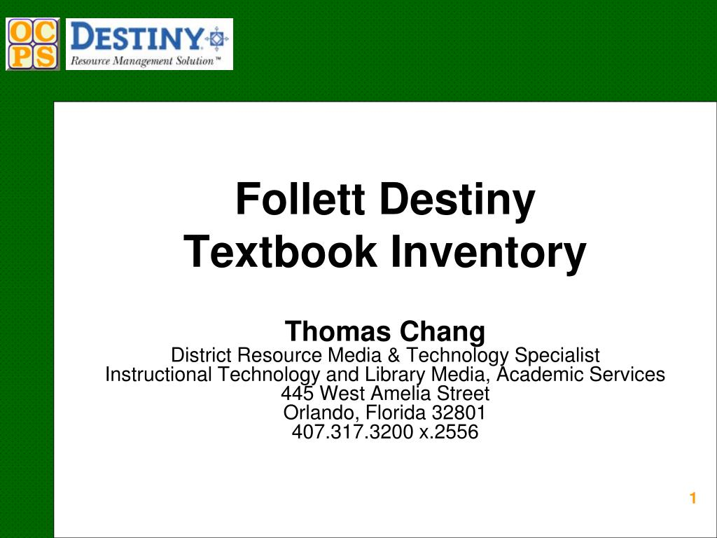 follett destiny textbook inventory l.