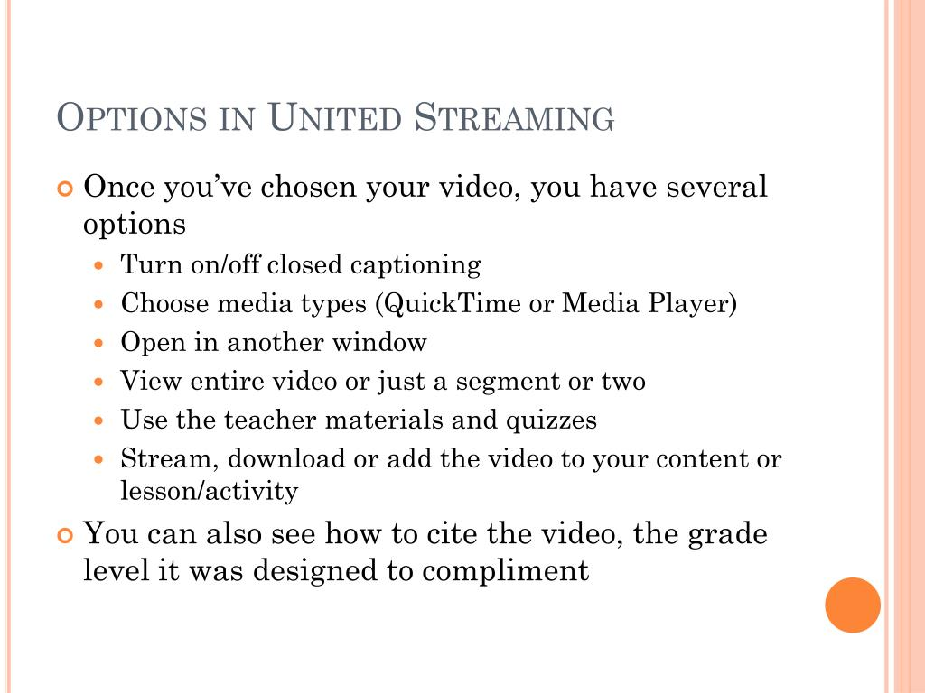 Options in United Streaming