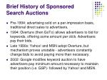 brief history of sponsored search auctions