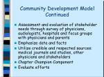 community development model continued