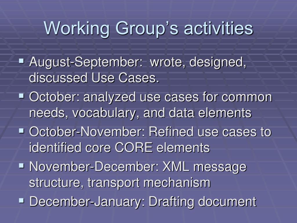 Working Group's activities