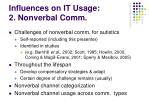 influences on it usage 2 nonverbal comm
