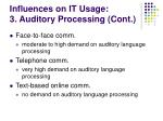 influences on it usage 3 auditory processing cont19