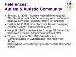 references autism autistic community