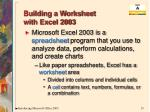 building a worksheet with excel 2003