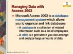 managing data with access 2003