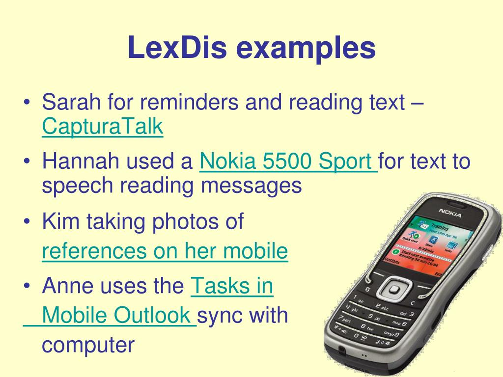 LexDis examples