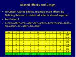 aliased effects and design