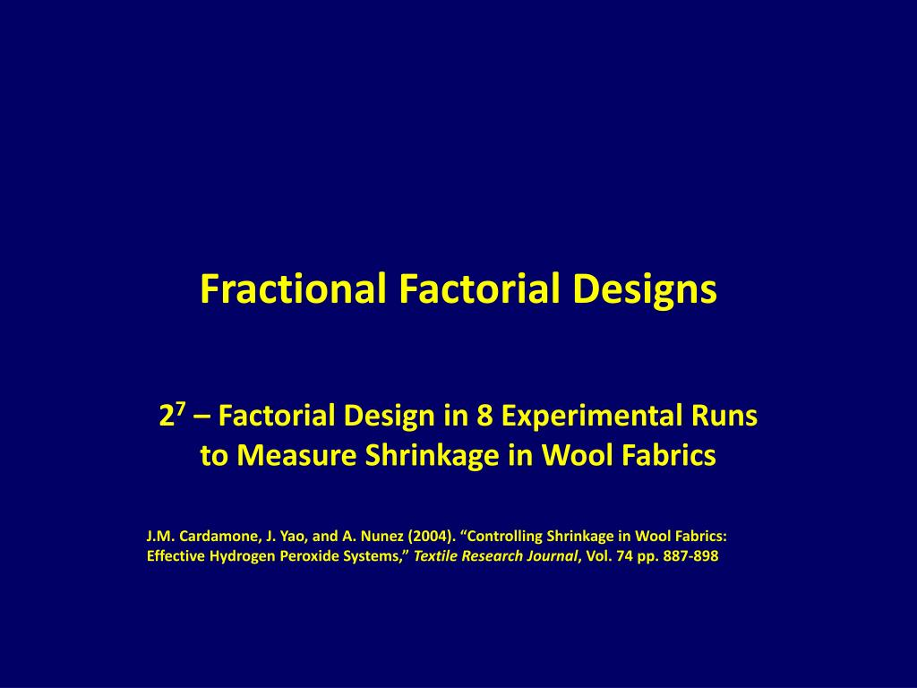 fractional factorial designs l.