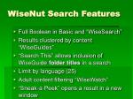 wisenut search features