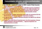 comunidades virtuales sociales profesionales second life