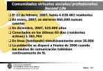 comunidades virtuales sociales profesionales second life97