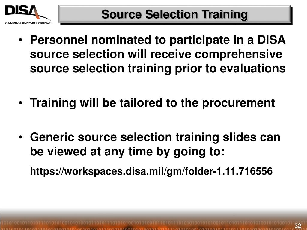 Source Selection Training